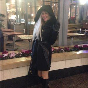 VIA SPIGA Women's Wool Coat Fur